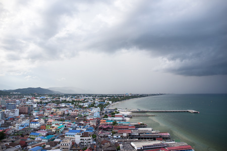 hua: Hua Hin, Thailand-October 8,2016:Port and old city area of Hua Hin, Thailand in rainny season.Hua Hin is one of the best popular city for tourist Stock Photo
