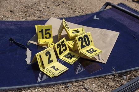 evidence bag: group of evidence marker number in crime scene investigation