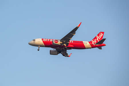 BANGKOK, THAILAND - December 20, 2017: HS-CBC Airbus A320-251N of Thai Air Asia  approach landing by Instrument Landing System or ILS navigation to runway 03L Don Mueang International Airport Thailand.