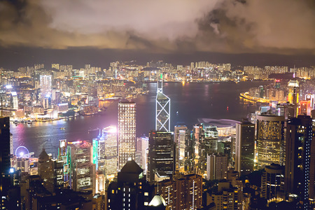 Hong Kong-July 13, 2017:Hong Kong landmark and Victoria harbour cityscape at night from the peak.Hong Kong as a special administrative region of the People's Republic of China