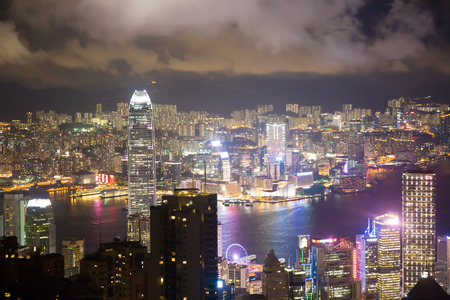 Hong Kong-July 13, 2017:Hong Kong landmark and Victoria harbour cityscape at night from the peak.Hong Kong as a special administrative region of the People's Republic of China Imagens - 98326795