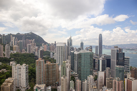 Central, Hong Kong - September 22, 2017: Aerial view skyscraper in Central and Wan Chai district with victoria harbour and kowloon background.Central the central business district of Hong Kong