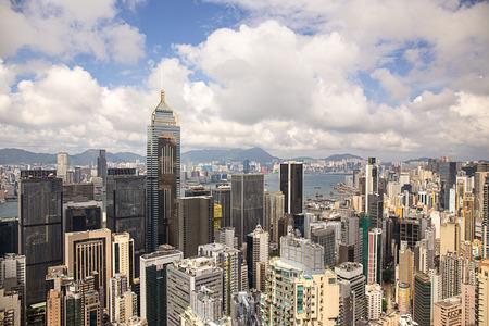 Hong Kong,China - September 22, 2017: Aerial view Central Plaza skyscraper and Wan Chai district with victoria harbour and kowloon background.Wan Chai is one of the busiest commercial areas in Hong Kong.