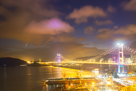 Hong Kong S.A.R.,China - July 22, 2017: Night scene Tsing Ma double-decked suspension bridge.Tsing Ma bridge was named after two of the islands at its ends, namely Tsing Yi and Ma Wan