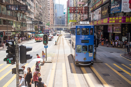 Hong Kong S.A.R. - July 13, 2017: View from Double decker tram or Ding Ding in Causeway Bay Hong Kong. Hong Kong tram is one of the earliest forms of public transport in the metropolis Imagens - 98326827