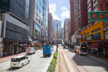 Hong Kong S.A.R. - July 13, 2017: View from Double decker tram or Ding Ding in Causeway Bay Hong Kong. Hong Kong tram is one of the earliest forms of public transport in the metropolis Editorial