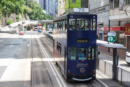 Hong Kong S.A.R. - July 13, 2017: Double decker tram or Ding Ding on jupiter street in Causeway Bay Hong Kong. Hong Kong tram is one of the earliest forms of public transport in the metropolis
