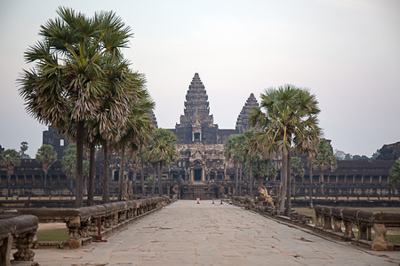 Angkor Wat, siem reap in Cambodia walkway nobody  at sunset Imagens - 106381083