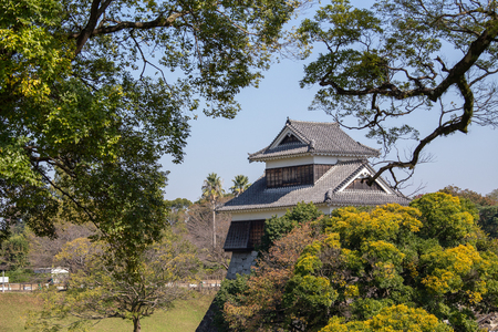 wooden turret or yagura on stone wall of Kumamoto castle in Japan surround by green tree and blue sky with  copy space