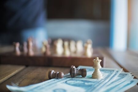 outwit: chess game for pay,vintage effect and soft focus. Stock Photo