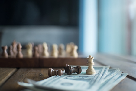 battle plan: chess game for pay,vintage effect and soft focus. Stock Photo
