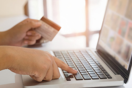 electronic commerce: Shopping online concept, people using credit card to shopping online payment.