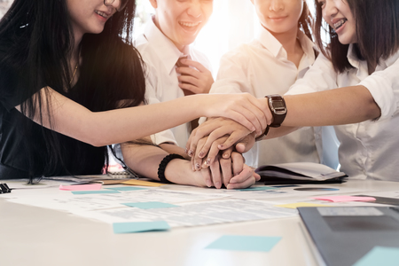 participatory: business participate collaboration team of business join to hand on office desk.