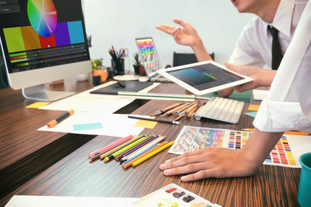 Artist creative meeting or brainstorming, graphic design concept. Stock Photo