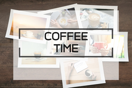 Coffee time background photo and text. Stock Photo