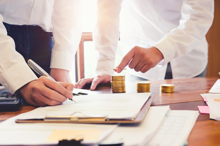Team of Business meeting with investment financial close up shot photo. Stock Photo