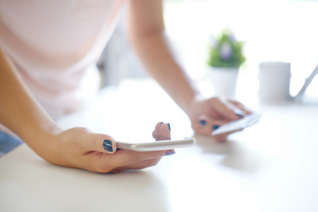 Close up woman shopping online with smartphone mobile. Stock Photo