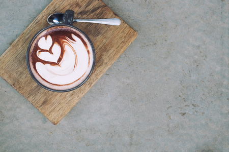 hot chocolate and copy space with top view. Stock Photo