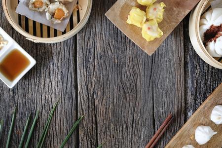 Dim sum Enjoying traditional Chinese dumpling top view.