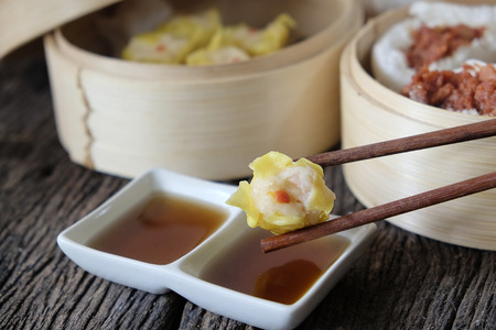 Closeup Shumai dumpling at a restaurant.