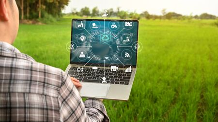 Agriculture management Innovation technology for smart farm system in laptop with smart technology concept. asian man farmer working outfield farm.