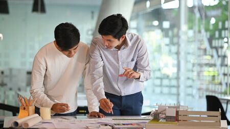 Architectures they working achievement Planning Design Draw teamwork of architecture meeting. Stock Photo