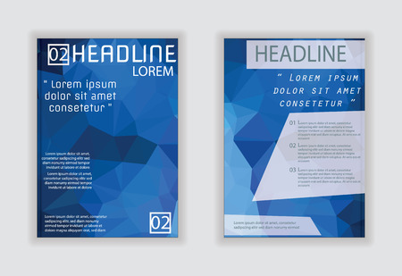Blue brochure template vector background flyer design with blue label concept elements in A4 size Illustration