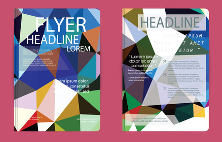 Set of Flyer, Brochure Design Templates. Geometric Triangular Web sites, page, leaflet, with colorful geometric triangular backgrounds,