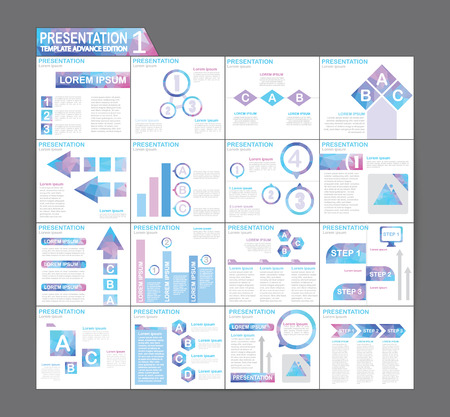 presentation people: Template brochure design Set Presentation of infographic Illustration