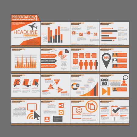 powerpoint: Orange presentation Infographic elements template flat design set for brochure flyer leaflet Illustration