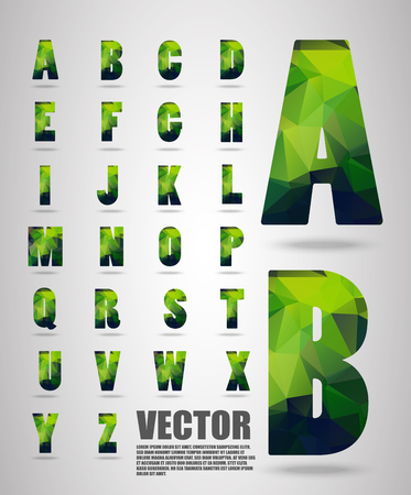 paper spell: Premium Polygon alphabet font style font with shadow, Low Poly Font Illustration
