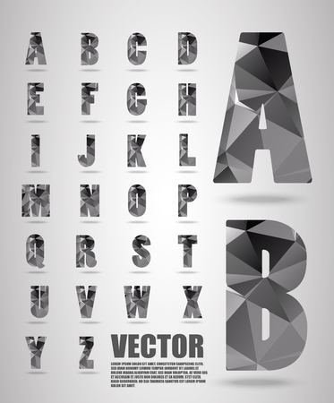 paper spell: low poly alphabet ,Vector Lowpoly ,Vector alphabet mosaic font