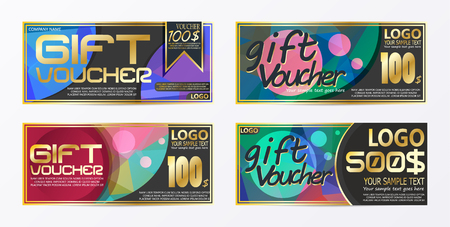 Gift certificate voucher coupon card background template Stock Vector - 92604591