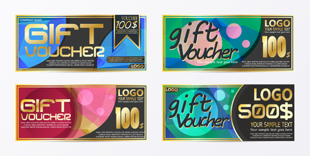 Gift certificate voucher coupon card background template Stock Vector - 92604590