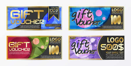 Gift certificate voucher coupon card background template Stock Vector - 95996105