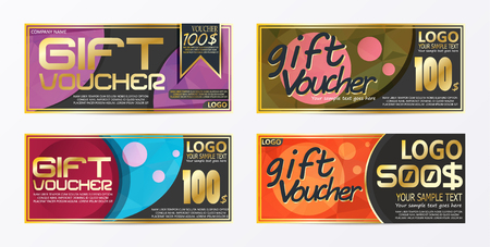 Gift certificate voucher coupon card background template Stock Vector - 96672928