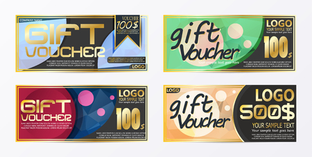 Gift certificate voucher coupon card background template Stock Vector - 96673030