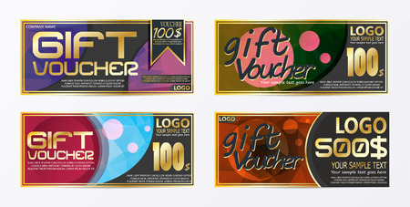 Gift certificate voucher coupon card background template Stock Vector - 97034410