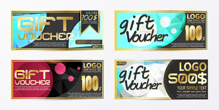 Gift certificate voucher coupon card background template Stock Vector - 98910142