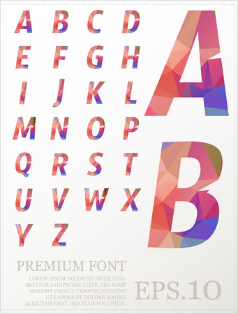 Font vector lowpoly design style illusstration.1
