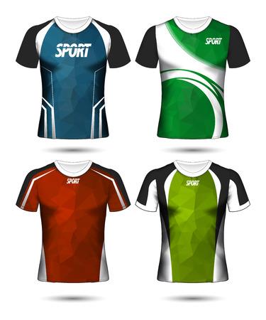 Set di calcio sport t-shirt layout design poli modello e polo illustrazione vettoriale