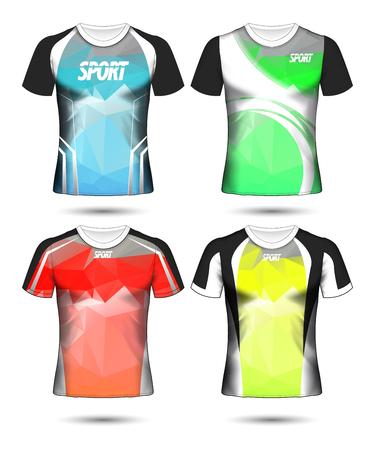 Conjunto de plantilla de poli de diseño de diseño de camiseta de deporte de fútbol y camiseta de polo ilustración vectorial