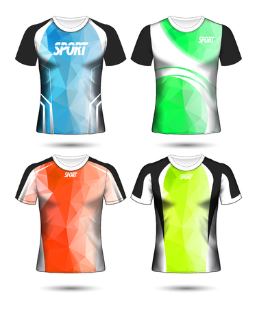 Set of Soccer sport t-shirt layout design poly template and polo shirt