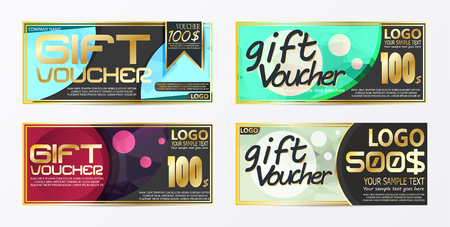 Gift certificate voucher coupon card background template Stock Vector - 111672192