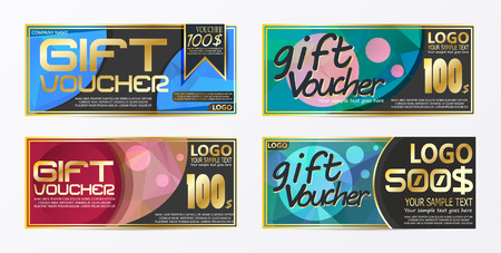 Gift certificate voucher coupon card background template Illustration