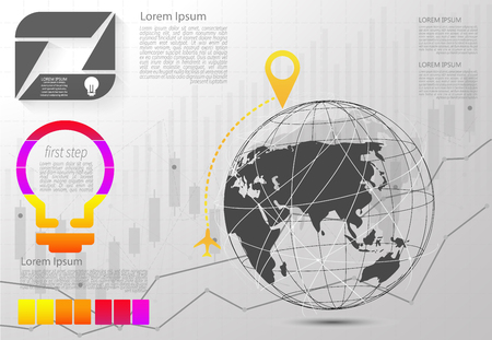 Modern vector abstract step lable infographic elements.can be used for global network connection. World map point and line.vector Illustration  Ilustrace