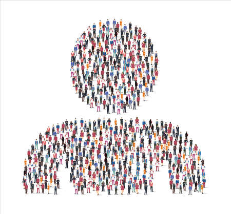 Large group of people illustration flat. forming the compass symbol on white background. Vector illustration, Group, People set