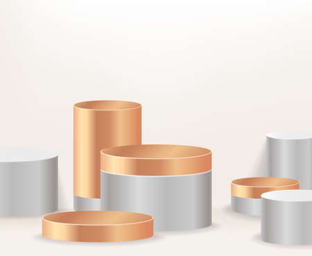 Modern white and gold cylinder pedestal podium, minimal, Stage for awards on website,  Abstract room,