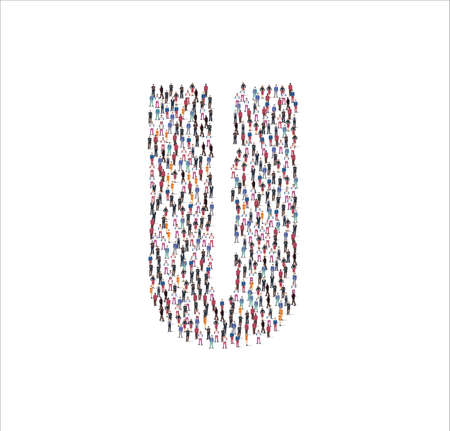 People Group of in the shape of Consonant U white background. Vector illustration