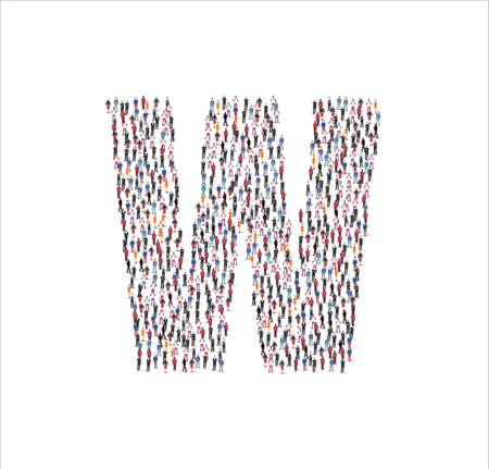 Crowd of flat illustration people forming the consonant letter W symbol on white background. Vector illustration